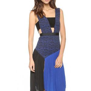 Self Portrait Asymetrical Blue Black Cutout Dress